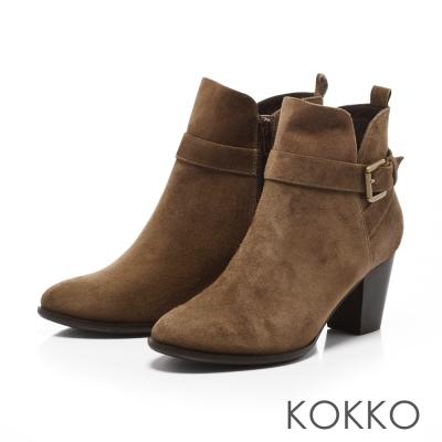 KOKKO-名模美腿真皮拉鍊粗高跟短靴-灰咖啡