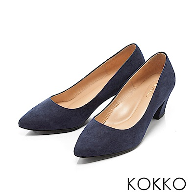 KOKKO - 都會時尚羊麂皮粗高跟鞋-丹寧藍