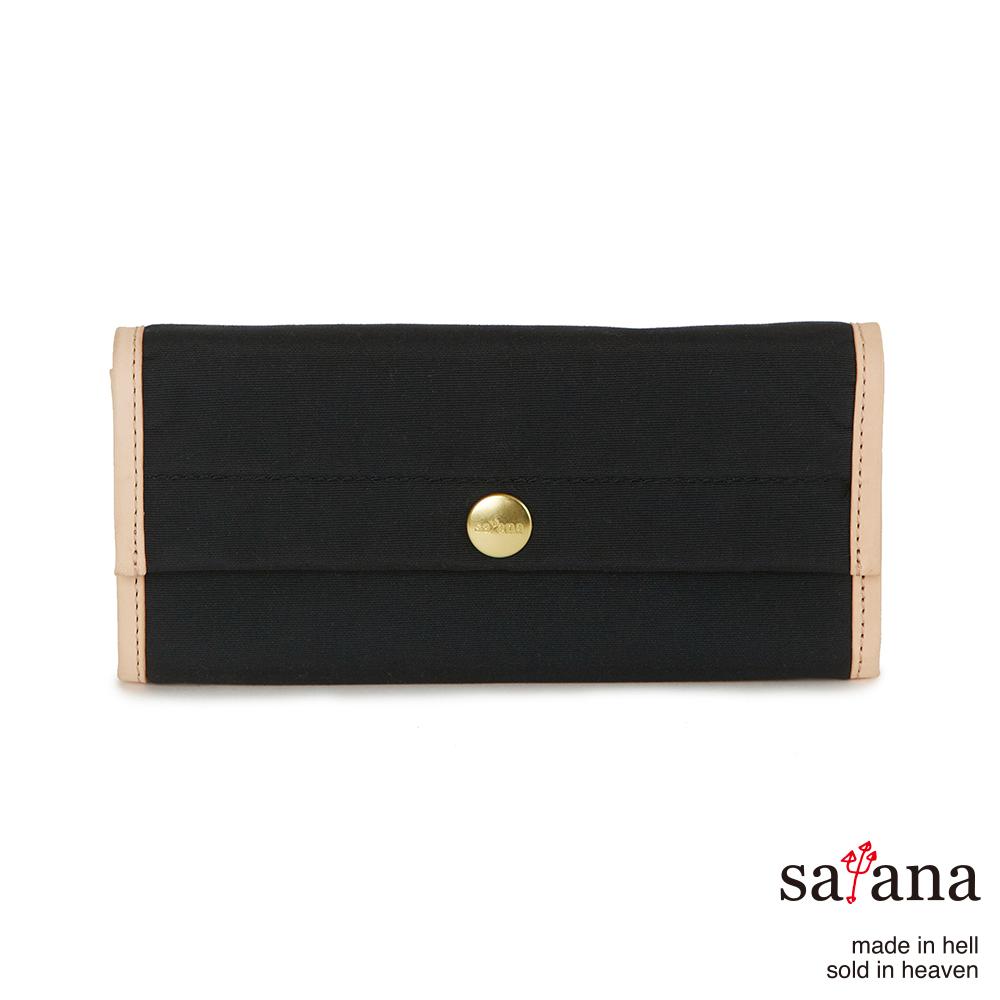 satana - 掀蓋式長夾 - 黑色