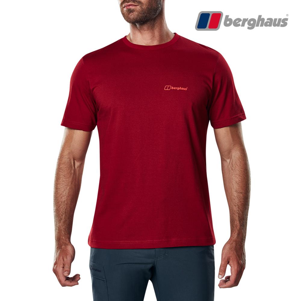 【Berghaus貝豪斯】男款山峰印花圓領T恤S04M18-紅