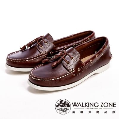 【WALKING ZONE】英倫 真皮手工白線車縫帆船雷根女鞋-咖