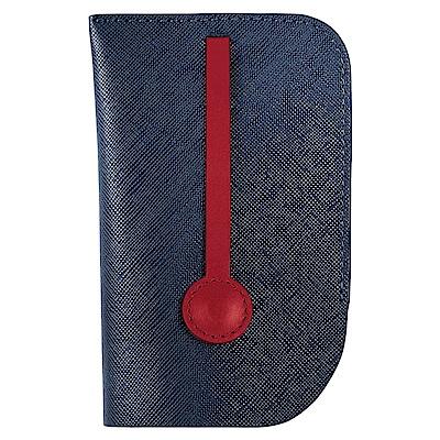 MONDAINE 瑞士國鐵隱藏式拉環牛皮鑰匙包-十字紋藍