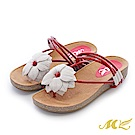 MK-真皮手作-山芙蓉繞藤帶厚底楔型拖鞋-紅白色