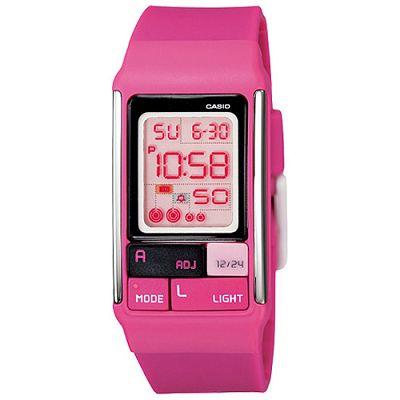 CASIO 新幾何積木方塊數字錶(LDF- 52 - 4 A)-桃紅/ 23 . 6 mm