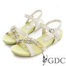 GDC-可愛小花水鑽裝飾真皮楔型厚底涼鞋-米杏色