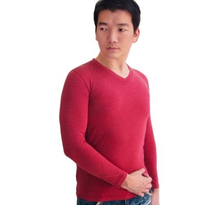 SOLIS 嚴選 MIT 長袖V領手感吸濕發熱衣(棗紅色)