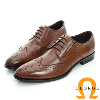 GEORGE-側V切口雕花綁帶真皮牛津紳士鞋-棕色