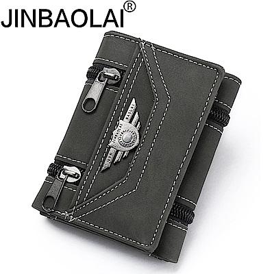 JINBAOLAI GT1725BK三折韓版PU皮夾 附零錢袋黑色