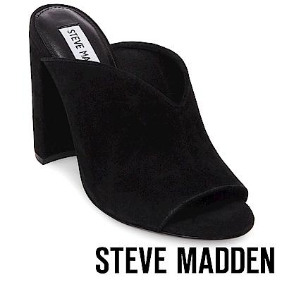 STEVE MADDEN-VISTA 魚口粗高跟涼拖鞋-黑色