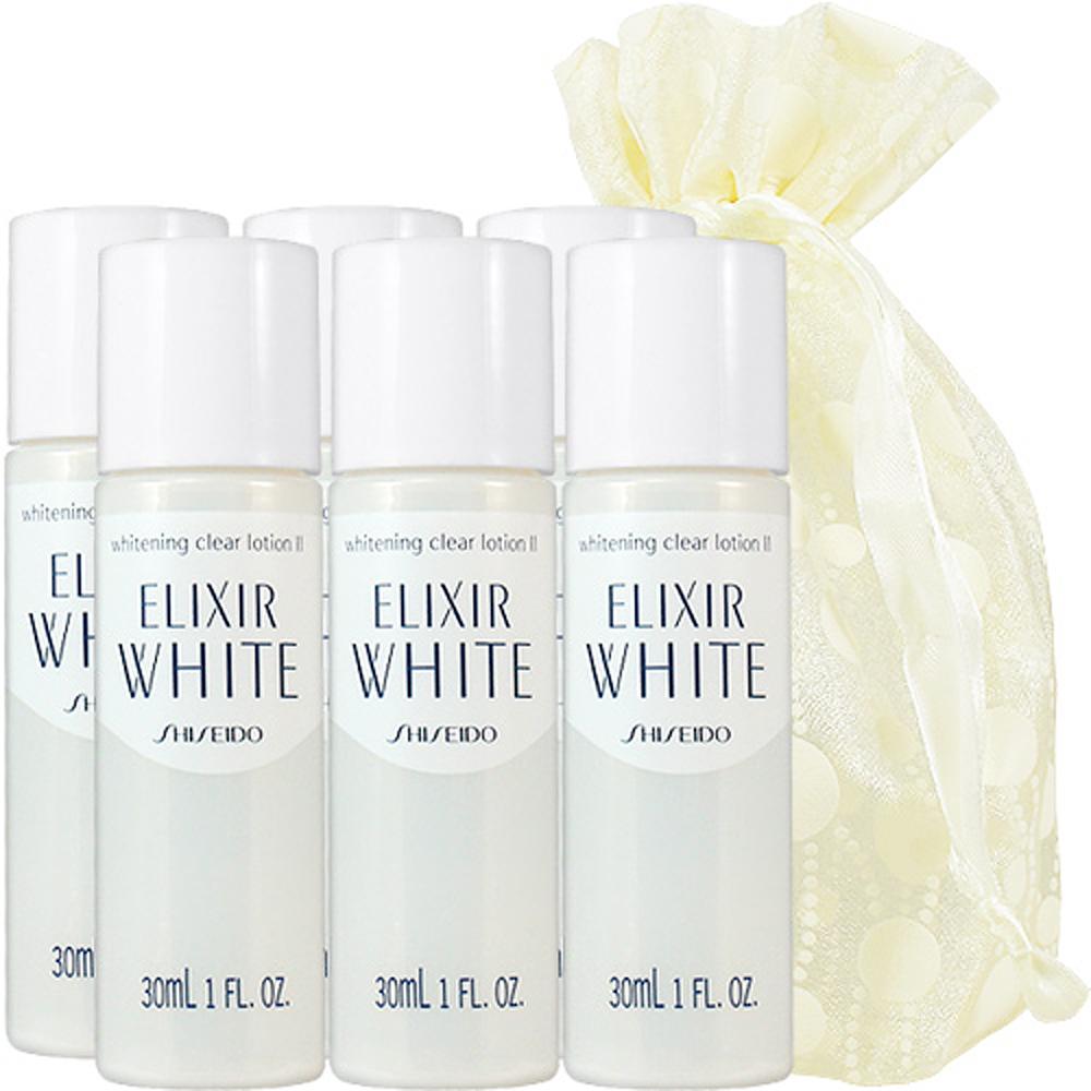 SHISEIDO 資生堂 淨白肌密柔膚水II(滋潤型)(30ml)6入旅行袋組