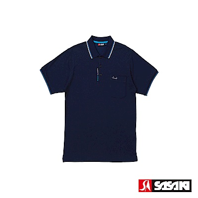 SASAKI 棉質吸濕排汗功能運動休閒短衫-男-丈青