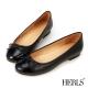HERLS-真皮圓頭蝴蝶結娃娃鞋-黑色