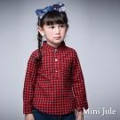 Mini Jule 童裝-上衣 立領格紋單口袋長袖上衣(紅)