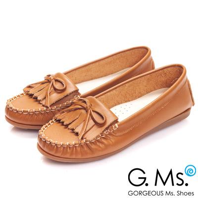 G.Ms. MIT系列-舒適牛皮流蘇蝴蝶結莫卡辛鞋-焦糖駝