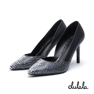 達芙妮DAPHNE dulala系列 高跟鞋-V口尖頭雙色高跟鞋-黑