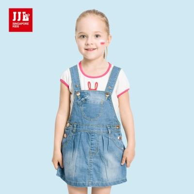 JJLKIDS 甜美蝴蝶結牛仔吊帶裙(牛仔藍)