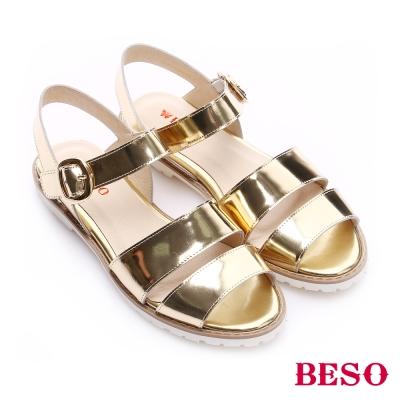 BESO 時尚核心 鏡面真皮雙寬帶低跟涼鞋 金色