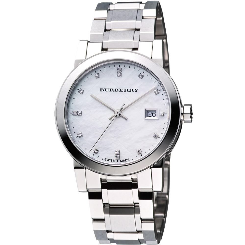 BURBERRY 英倫完美時尚真鑽腕錶-珍珠貝/34mm