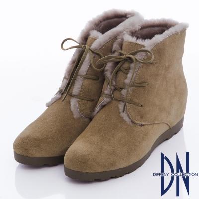 DN 冬漾暖意 質感牛反毛滾邊綁帶內增高踝靴-駝