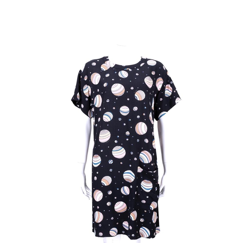 SEE BY CHLOE 深藍色趣味圖印設計短袖洋裝