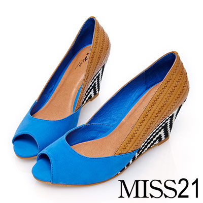 MISS-21異材質拼接鋸齒圖騰楔形鞋-藍