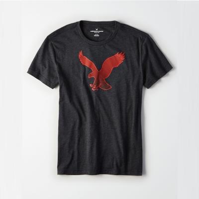 AEO 美國老鷹 經典標誌大老鷹印刷短袖T恤-深灰色 Amercan Eagle