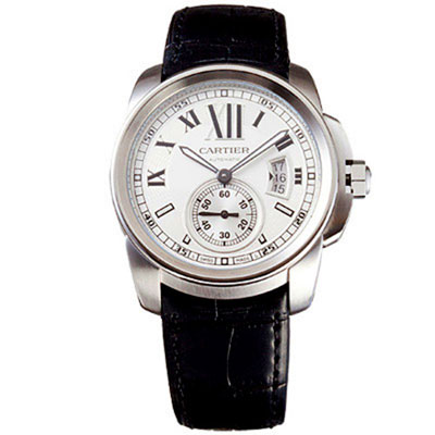 CARTIER Calibre De Cartier 小秒針機械腕錶-白面/42mm