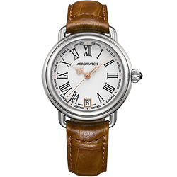 AEROWATCH 羅馬時尚簡約腕錶-白/35mm
