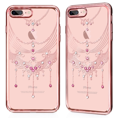 GARMMA iPhone 8+/ 7+ 施華洛水鑽硬式保護殼-蝶舞翩翩
