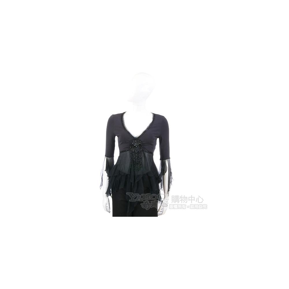 ROBERTA SCARPA 黑色串珠綴飾紗質拼接上衣