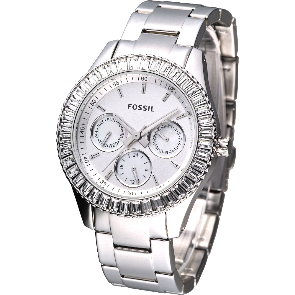 FOSSIL 仕女晶鑽大錶徑3眼計時腕錶-銀/37mm