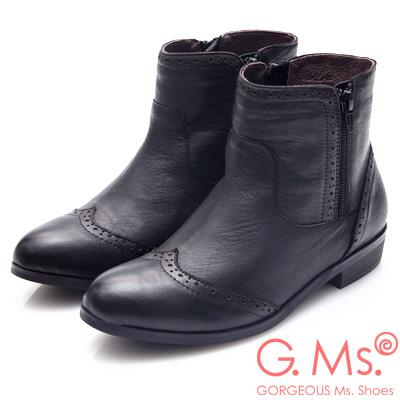 G.Ms. 全真皮牛津雕花拉鍊平底短靴-黑色