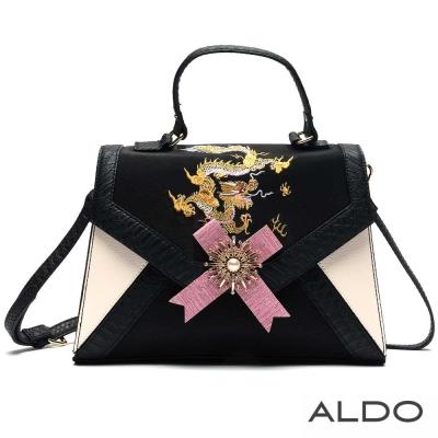 ALDO 黑白刺繡珍珠徽章肩揹兩用包~時髦黑色