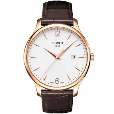 TISSOT Tradition 復刻時尚腕錶-白/42mm