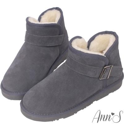 Ann'S暖澎澎-側V口釦帶厚毛短筒雪靴-灰