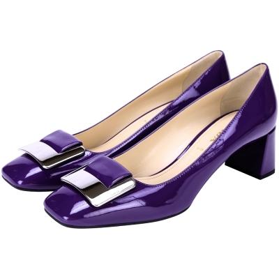 PRADA 金屬方框粗跟鞋(紫色)
