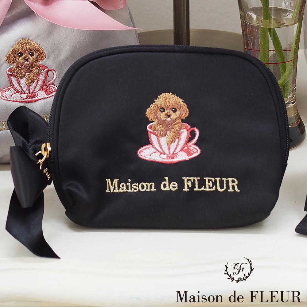 Maison de FLEUR可愛茶杯貴賓狗化妝包