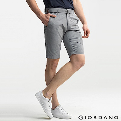 GIORDANO 男裝COOLMAX涼感休閒短褲(附腰帶)-01 黑/卡其色