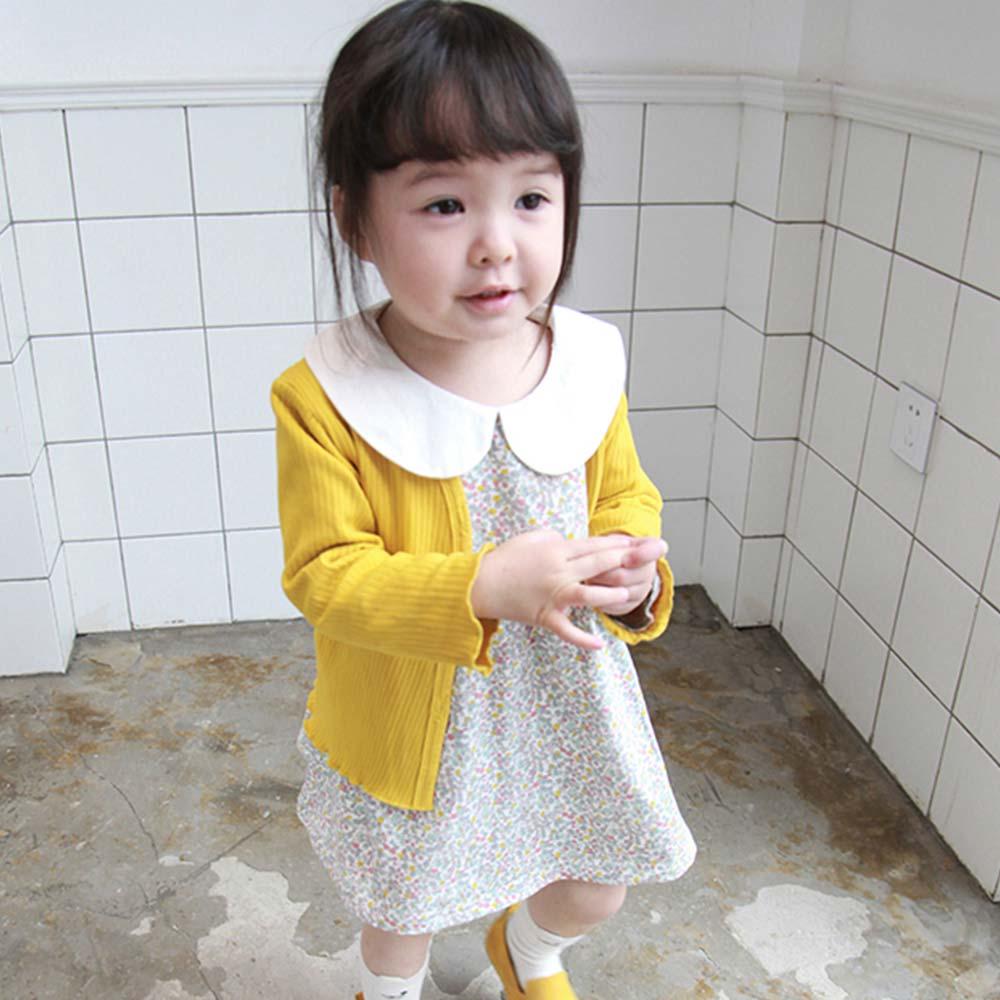 Baby unicorn 黃色直條壓紋開扣長袖外套