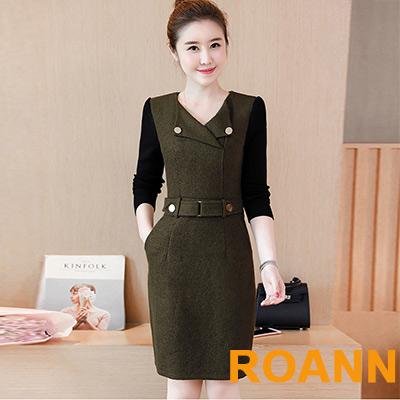 V領拼接長袖腰帶洋裝 (墨綠色)-ROANN