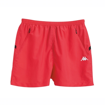 KAPPA義大利 舒適時尚女休閒單層短褲-海棠紅 黑