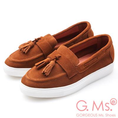 G.Ms. 牛麂皮流蘇莫卡辛厚底鞋-棕色