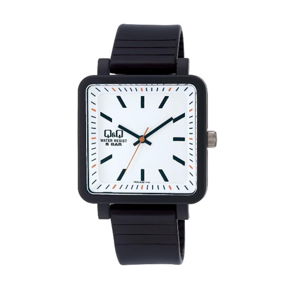 Q&Q 日系個性方正混搭泡泡糖潮流錶-白x黑框/38mm