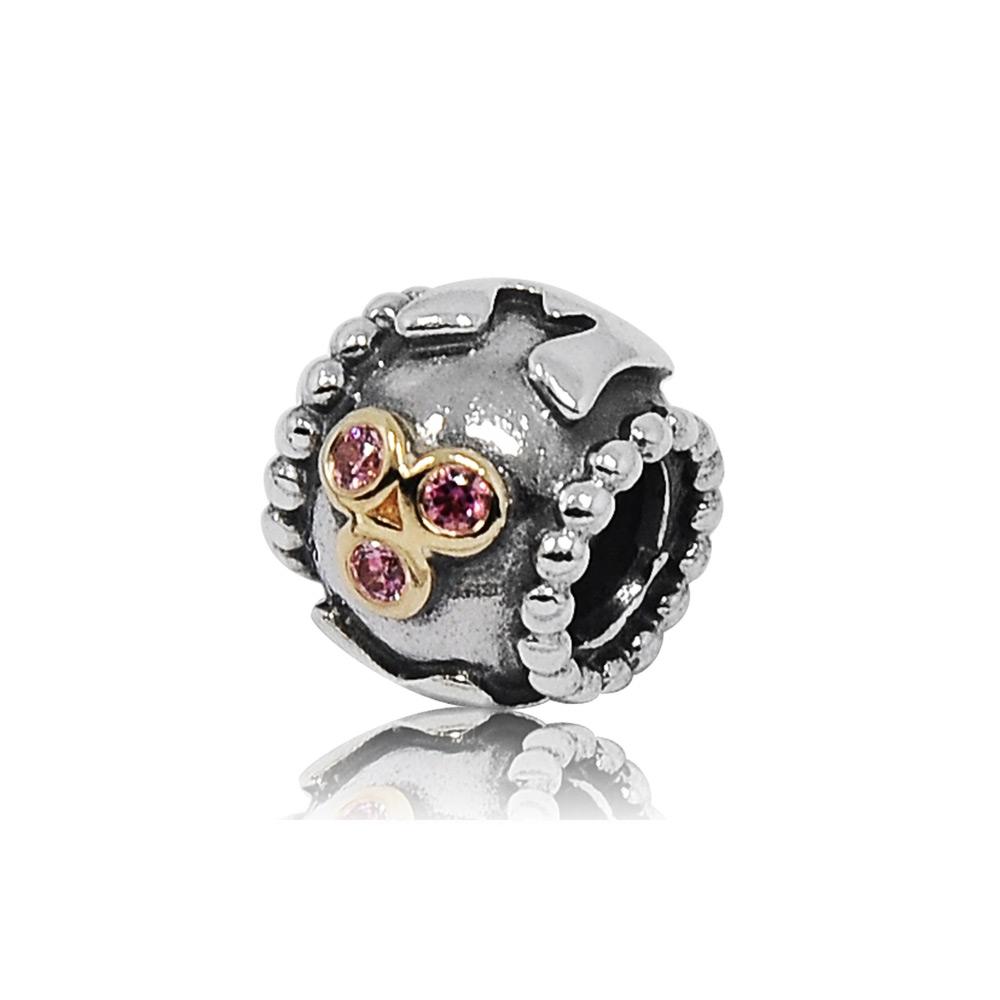 Pandora 潘朵拉 MOM粉鑽造型 純銀墜飾 串珠