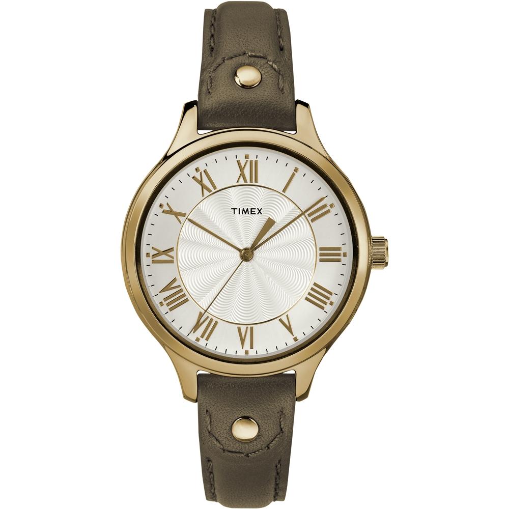 TIMEX 天美時 風格系列 羅馬字女錶-橄欖綠/36mm