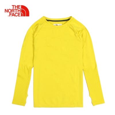 The North Face北面男款黃色排汗速乾運動長袖T恤