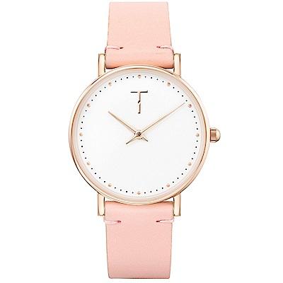 TYLOR 棉花派對時尚皮革手錶-白X粉/33mm