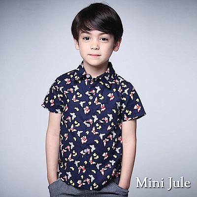 Mini Jule 童裝-襯衫鮮豔彩蝶單口袋短袖襯衫(寶藍)