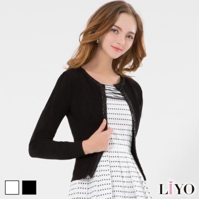 LIYO理優織帶亮片收腰針織外套(白、黑)-動態show