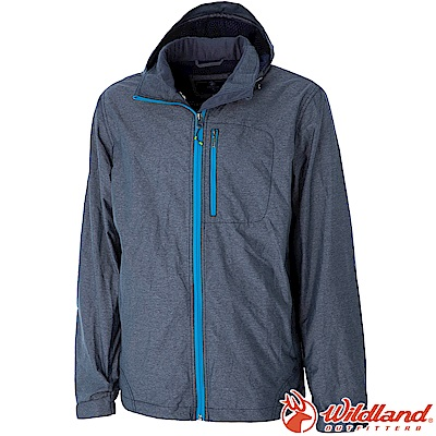 Wildland 荒野 0A52910-93深灰色 男輕量網布刷毛裡防風外套